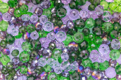 Pearlfection Imperial Colours : Green and Purple Glass Crystal Rondelle mixed beads set in 6mm and 8mm 340 pieces