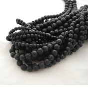 High Quality Natural Black Lava stone Round Beads - 8mm