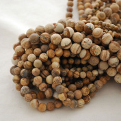 High Quality Grade A Natural Picture Jasper Frosted / Matte Semi-precious Gemstone Round Beads - 4mm