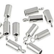 50 x 9mm x 3.5mm Silver Plated Brass End Caps - Internal dia. 3mm - Kumihimo