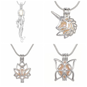 4pcs Mix Unicorn Butterfly Lotus Mermaid Wish Love Locket Pearl Cage 925 Silver Tone Necklace Pendant Freshwater Cultured Pearl Beads Gift Charms Chain 45cm