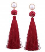 Women Tassel Earrings Bohemian Style Weave Long Drop Earrings Gift