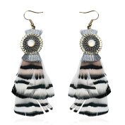 Profusion Circle Bohemia Feather Tassels Earrings Dangle Hook Eardrops Jewellery for Travel Party Dating