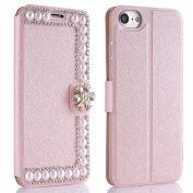 Slim Hard Cover for iPhone SE, for iPhone 5S, for iPhone 5 Case, PU Leather Flip Style Cover for iPhone SE 5S 5, Super Thin Hard Plastic Inner Shell Case with One Card Slot Holder Wallet Book Style Design 3D Diamond Bling Rhinestone Cute Magnetic Buckl ..