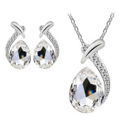 Necklace Earring Jewellery Set, SamMoSon Women Crystal Pendant Silver Plated Chain Necklaces