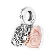 BAKCCI Autumn Pink Love Makes A Family Dangle DIY Fits for Original Pandora Bracelets Charm Fashion Jewellery