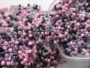 "500 Black Beads, Purple Pink Grey Melange – Multicoloured – Ø 4 mm 6/0 â . "" Creation"
