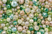 Pearlfection Green Mist : Crystal Glass Green Rondell bead set for jewellery making and arts and crafts - 360 pieces