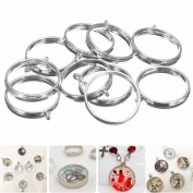 10pcs Pendant Trays Silver Blank Bezel Round for Cabochon Necklace Jewellery Setting
