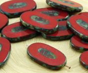 2pcs Picasso Brown Coral Red Opaque Large Flat Oval Table Cut Carved Czech Glass Beads 26mm x 15mm