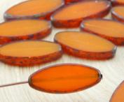 6pcs Picasso Amber Yellow Opal Flat Oval Petal Window Table Cut Czech Glass Beads 9mm x 20mm