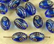 8pcs Crystal Sapphire Blue Gold Wash Evil Eye Egyptian Revival Mediterranean Talisman Marine Fish Oval Czech Glass Beads 13mm x 9mm