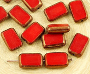8pcs Opaque Coral Red Bronze Lustre Table Cut Flat Rectangle Czech Glass Beads 8mm x 12mm