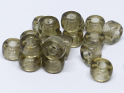 50 (PCS) X 6mm LARGE HOLE RING SPACER RONDELLE PONY CROW CZECH GLASS BEADS - BLACK DIAMOND/GREY - Y006