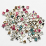 FENGLANG 200pcs Rhinestone Beads Crystal Gemstone Clear Spacer For Jewellery Making 4mm NEW