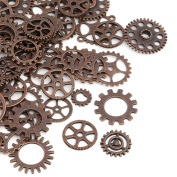 Naler 80pcs Antique Gears Wheels Skeleton Steampunk Pendant Charms Clock Watch Gears Wheels Copper for DIY Crafts, Jewellery Making, Cosplay Costume Accessories