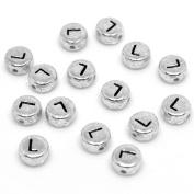 Wocharm 7mm 100 PCS DIY Silver Flat Round Disc Acrylic Alphabet Letter Beads A-Z