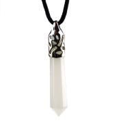 Gemstone Hexagonal Pile Chakra Pendant with Black Core Necklace white jade