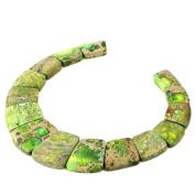 Large ladder shaped Gemstone Pendant graduated beads set For necklace design 33cm Green sea sediment jasper
