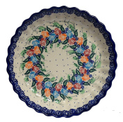 Traditional Polish Pottery, Round Pie or Casserole Baking Dish 10in / 25cm, Boleslawiec Style Pattern, O.201.ROSY