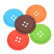 Youkara 6Pcs Cup Cushion Holder Cute Colourful Buttons Silicone Button Coaster Drink Placemat Mat