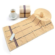 M & F 100% Cotton 34x75cm Family Hand Towel Quick-Dry Grid Striped Adult Towel