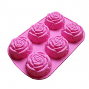 Silicone Cake Mould 6 Hole Rose Cake Makers for Kids Silicone Bakeware Set Nonstick Silicone Baking Mould Set