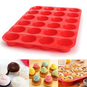 Winkey Cake Mould,24 Cavity Mini Muffin Silicone Soap Cookies Cupcake Bakeware Pan Tray Mould