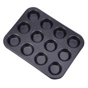 12-Cavity Mini Cake Egg Tart Mould, Nonstick Carbon Steel Muffin Cupcake Baking Pan