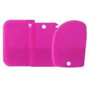 3PCS Plastic Dough Cake Scraper Set - Random Colour