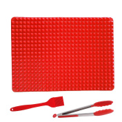 INCHANT Kitchen Tool Set, Pyramid Pan Baking Mat Silicone Oven Cooking Mat + Silicone Kitchen Tong + Silicone Oil Brush, for Biscuits, Chicken, Cakes, Cookies, Bread, Muffins and More