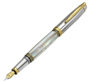 Xezo Maestro Mother of Pearl and Platinum Finish Medium Point Weighty Fountain Pen