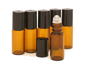 Yunchuang 12Pcs 5ml Amber Empty Glass Roll-on Bottles with Stainless Steel Roller Balls and Black Cap for Essential Oil Perfumes Lip Balms