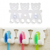 Onpiece Toothbrush Holder Wall Mounted Suction Cup 5 Position Cute Cartoon Bear Bathroom Sets