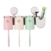 AhlsenL Multifunctional Toothbrush Holder Makeup Storage Racket with Strong Suction Hooks Anti-dust Bathroom Accessory Set Wheat Straw Series Cartoon Bear