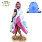 Hooded Beach Bath Towel and Bag Set Large for Girls / Poncho Swim Beach Bath Towel Mermaid Pattern 4-14 Years