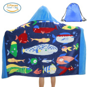 Kids Hooded Beach Bath Towel and Bag Set for Girls Boys Fishes Pattern 4-14 Years