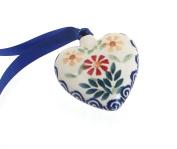 Polish Pottery Garden Bouquet Heart Ornament