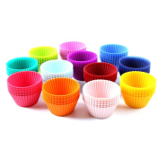 24 pcs Silicone Cake Mould Muffin Cups Nonstick Cupcake Liners for Baking Random Colour