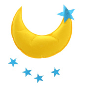 Homyl Moon with Stars Pendant Hanging for Children Play Tent Bedroom Wall Bed Canopy Decoration Decor Kid Playhouse Toy Yellow