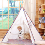 Kids Teepee Tent Indian 1.8m Tipi Tent Made of 100% Cotton Canvas 5 Wooden Poles Colourful Children's Play Tent with Mat,Carry Case,Stable Ball by JOYNOTE.