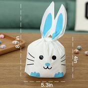 50pcs of Sweets Bags Bunny Shape Party Gift Bags for Packing, Sandwich, Snack Sweets, Biscuits, Biscuits, Cakes, Dessert Fruit blue