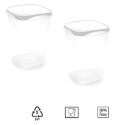 Set of 2 Containers hermeticos Square with White Lid 2 Litres – BPA Free.