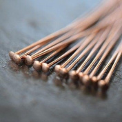 Rose Gold Plated Headpins - Flat End | Pack of 50 | 2 inch / 50mm | Variety of Pack Sizes | Free Delivery