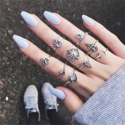 Gluckliy 9 Pcs Vintage Retro Boho Stacking Rings Finger Knuckle Midi Ring Set for Women Girls