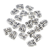YC 30pcs Silver Plated People Face Flat Spacer Beads Loose Metal Beads Craft DIY Jewellery Making Findings Charms Pendants