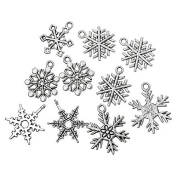 JulieWang 60pcs Antiqued Silver Christmas Snowflake Charms Pendants for Jewellery Making