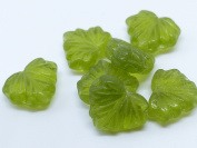 15 (PCS) X 13mm HEART SHAPED CZECH GLASS LEAF BEADS - OLIVINE GREEN - Z096
