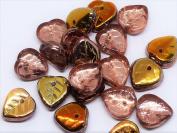 40(PCS) X 9mm HEART SHAPE CZECH GLASS DROP LEAF BEADS - TOPAZ BROWN VITRAIL - G084