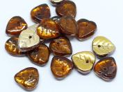 40(PCS) X 9mm HEART SHAPE CZECH GLASS DROP LEAF BEADS - TOPAZ BROWN AB